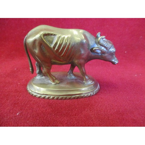 26 - SOLID BRASS WATER BUFFALO ON BASE...