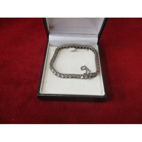 46 - VINTAGE SILVER DIAMANTE BRACELET WITH SAFETY CHAIN (2 diamantes missing)...