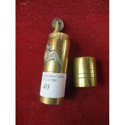 49 - TRENCH ART CIGARETTE LIGHTER IN GOOD CONDITION...