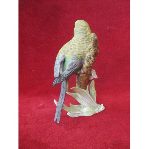44 - GOEBEL BUDGIE ON A BRANCH (DAMAGE TO TIP OF WING )...