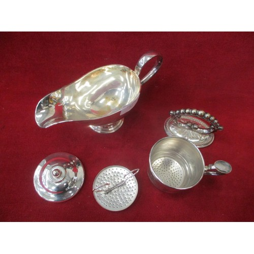 52 - SILVER SERVICE TEA SERVER, HANDLE FROM TUREEN,  AND GRAVY BOAT...