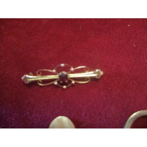 46 - SCRAP GOLD ITEMS COMPRISING A 9CT BROOCH WITH RED STONE MISSING PIN, SINGLE CUFFLINK MARKED 12CT FRO...