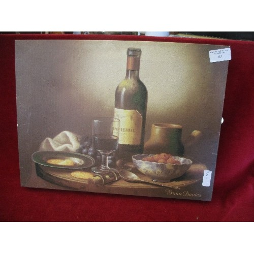 83 - SET OF 3 FOOD CANVASSES BY BRIAN DAVIES ON QUALITY PINE FRAMES