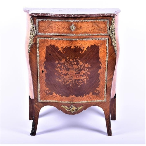 1 - A French Louis XV style marble top cabinet  of bombe form, the serpentine front with single top draw...