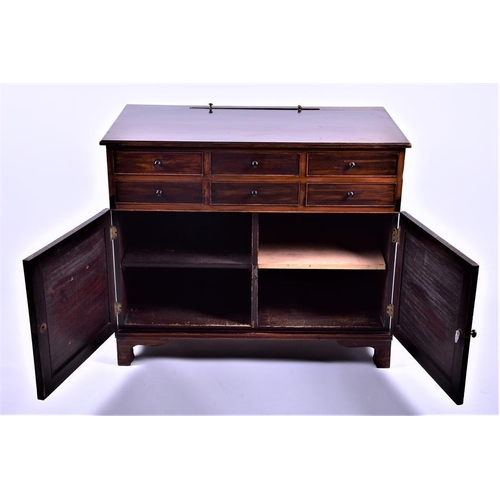 27 - A 19th century mahogany side or dressing table  with raising mirror back, six short drawers over a p...