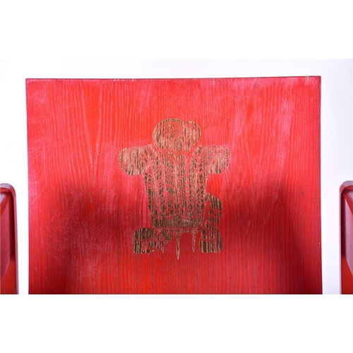 31 - A red painted beech Prince of Wales investiture chair  designed by Lord Snowdon for 'Remploy', made ...