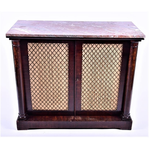 34 - A Regency mahogany marble toppedchiffonier  the red veined marble top over a pair of hinged doors w...