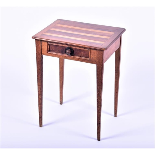 40 - A small single-drawer side table   with horizontal inlaid bands to the top, on tapering square legs,...