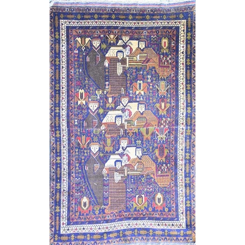59 - A small Persian bokhara rug  depicting stylised figures within a geometric border, 187 cm x 108 cm....