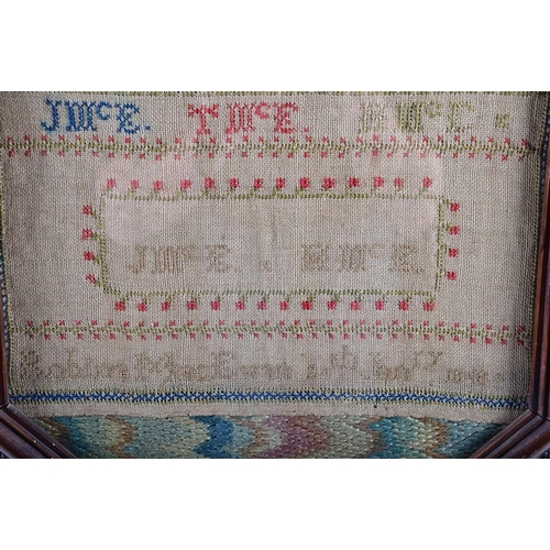 14 - A Victorian walnut pole screen   with embroidered sampler panel (dated 1848) behind glass, on an inv...