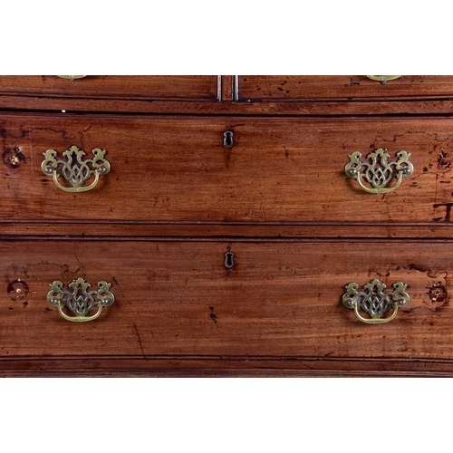 15 - A Georgian mahogany chest on chest  with moulded cornice above two short drawers on a graduated set ...