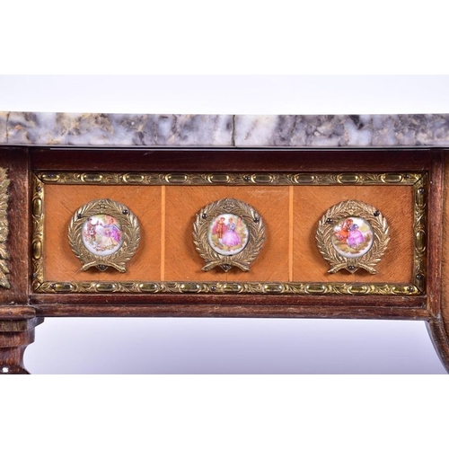 16 - A 20th century French Louis XVI style console table  with marble top, above a porcelain mounted frie...