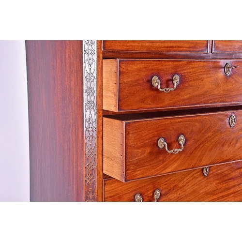 55 - A fine George III mahogany chest on chest  with stylised Greek key decoration and carved frieze over...