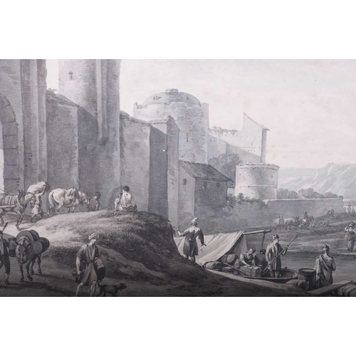 11 - Manner of Claude Joseph Vernet (1714 - 1789), The outskirts of a middle eastern city wall, watercolo...
