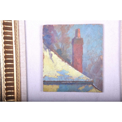 19 - Modern British School, c.1940, Roof Study and Snowy Tree Study, a pair, oils on panel, 13 x 11.5cm &...