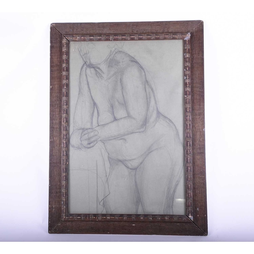 20 - A charcoal on paper sketch of a female nude 20th century, glazed in a wooden frame, unsigned. (Dimen...