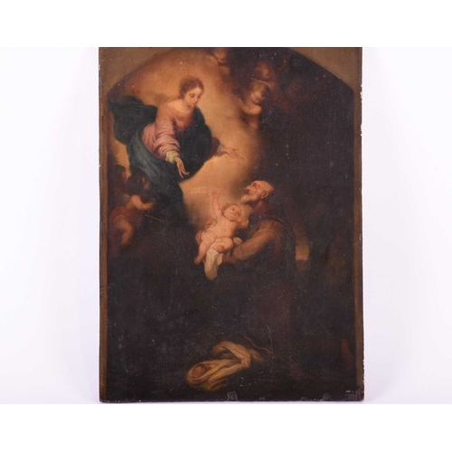 23 - 18th century Continental School, St Anthony receiving the Child Christ from the Virgin Mary, oil on ...
