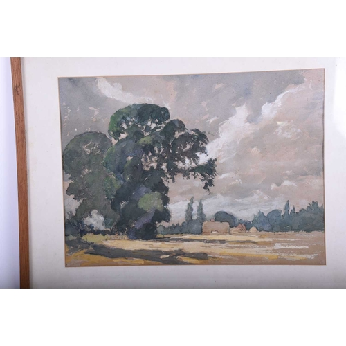 24 - Paul Redway (20th century), ' Looking from Castle Cove' & a rural view, signed, a pair, watercolour,...
