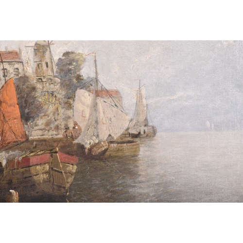 26 - Continental School, 20th century, depicting fishing boats in a Dutch quayside, illegible signed, oil...