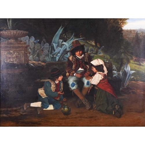 27 - Edward Henry Bearne (b.c. 1845) English, depicting three Italian children sharing grapes near a foun...