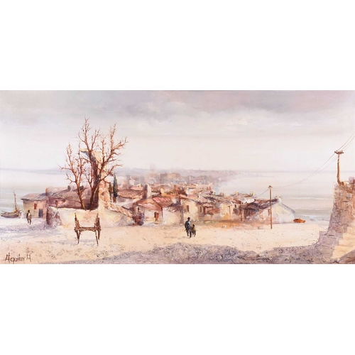 29 - Jorge Aguilar-Agon (b.1936) Spain, depicting a sea village, signed lower left, oil on canvas, within...