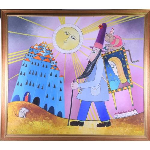 3 - Andrzeji Kuhn (1930 - 2014), 'The Organ Grinder', signed, oil on canvas, 105cm x 120cm...