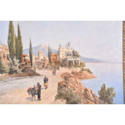 32 - Continental School, 20th century, depicting a road and the bay of Naples in the background, illegibl...