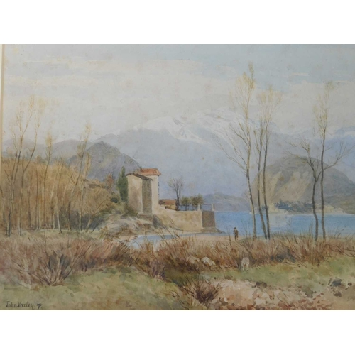 33 - Attributed to John Varley The Younger (British, 1850 - 1933), 'Laveno, Lake Maggiore', signed, water...