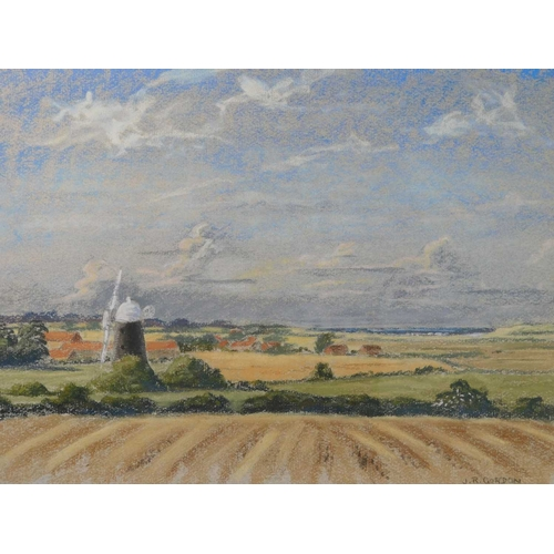34 - J.R.Gordon (British, 20th Century). A rural landscape view of the south east of England, signed, gou...