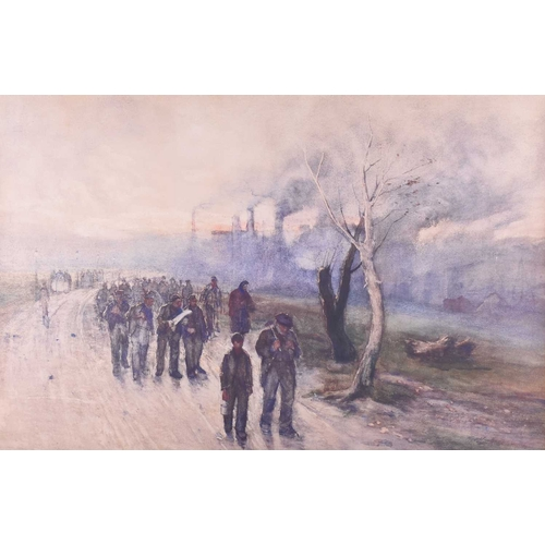 36 - Thomas Hunt (1854-1929) British ARSA, VPRSW 'When the day of toil is done', an industrial scene of w...