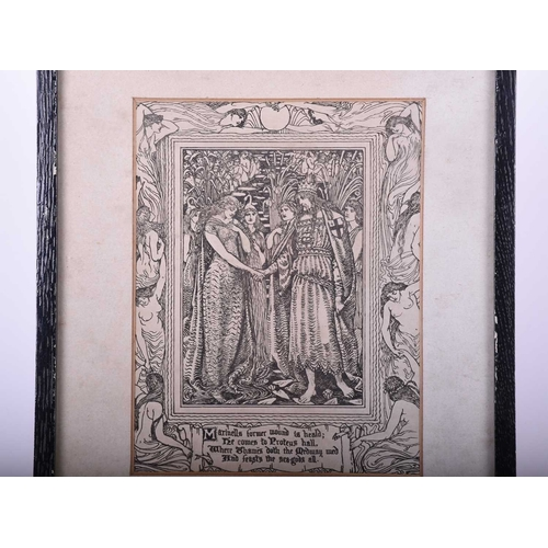 40 - After Walter Crane, an art nouveau period print illustrating a verse from Tennyson's Faerie Queene, ...
