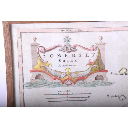 42 - Robert Morden 'Somersetshire', late 17th century, copper plate engraving, later hand tinted, 39 x 45...