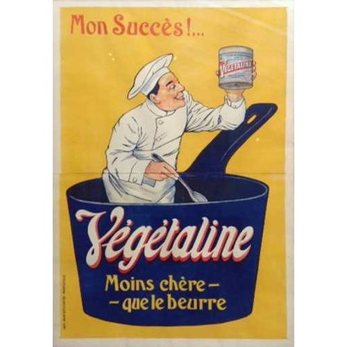 43 - A large early 20th century French adverstising poster, for 'Végétaline', 158 cm x 107 cm, glazed in ...