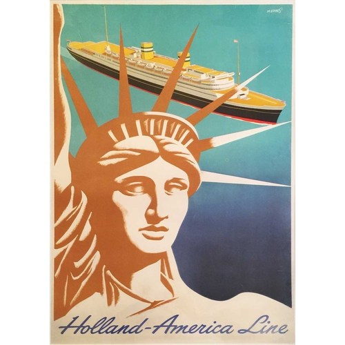 44 - An early to mid-20th century original shipping liner advertising poster, for the 'Holland-America Li...