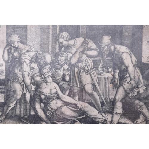 47 - George Pencz ( 1500 - 1550), 'Abraham & Agar' & 'Lucrece', two copper engravings, 5.9cm x 8.5cm & 7....