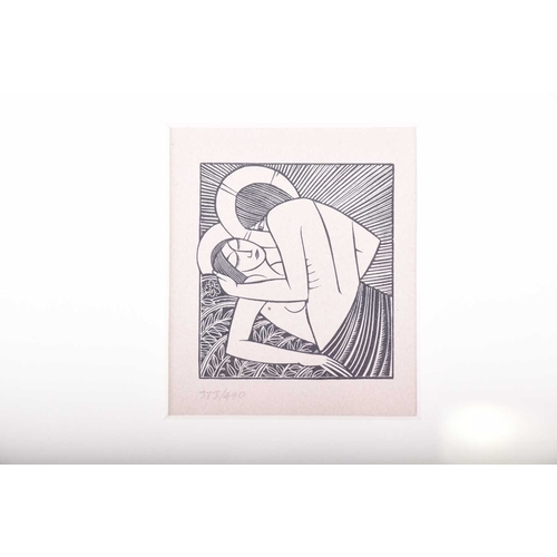 55 - After Eric Gill, (1882 - 1940), 'Stay with me Apples' woodblock print, number 373/480, image 6.5cm x...