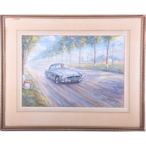 8 - Raymond Groves (1913 - 1958), 'Mercedes sports car on the Continent', signed and dated 57, watercolo...
