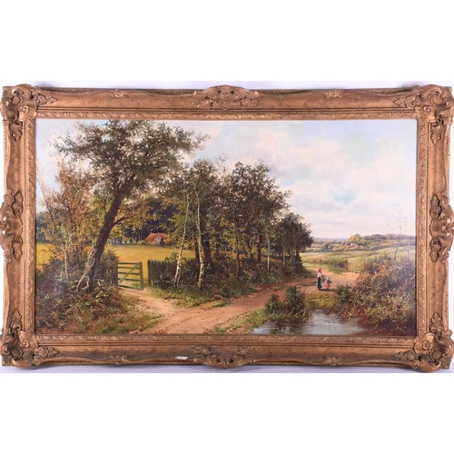 9 - John Henry Boel (British, fl:1890/1915), Woman and child on a country path, signed, oil on canvas, 5...
