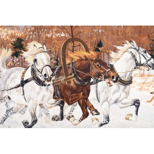12 - † Wojciech Wolwowicz (b. 1950) Polish, hunters on a horse-drawn sledge, pursuing wolves, oil on canv...