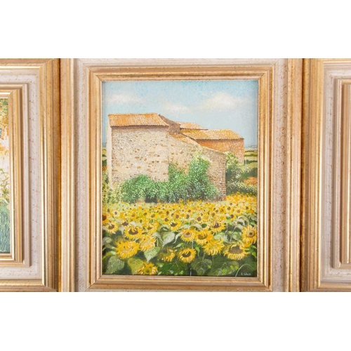 14 - † Chris Wild (b.1945) British, three oils on canvas, titled 'Sunflowers Near Beaulieu, France', (31....