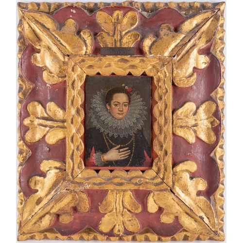 17 - Attributed to Alonso Sanchez Coello (1515-1590) Spanish, a portrait of a noblewoman, oil on copper, ...