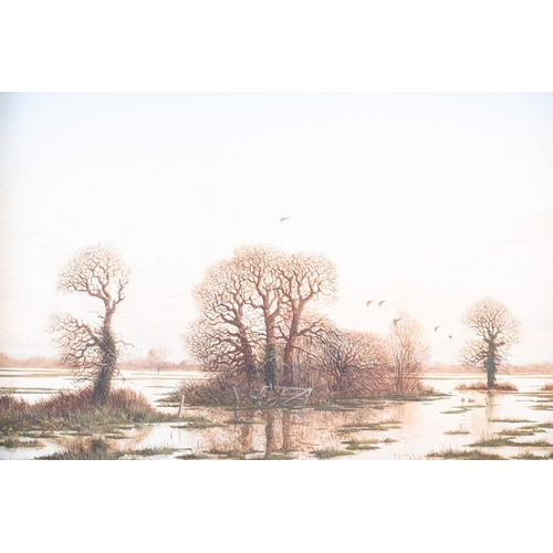 19 - Nick Mace (b.1949) British, 'On the Flood', oil on panel, signed to lower right corner, Omell Galler...