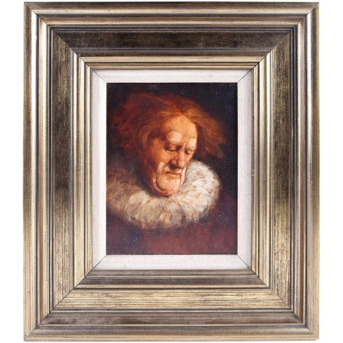 21 - † Ken Moroney (1949-2018) British, 'Clown Portrait', oil on canvas, signed and dated 1977, 21.7 cm x...