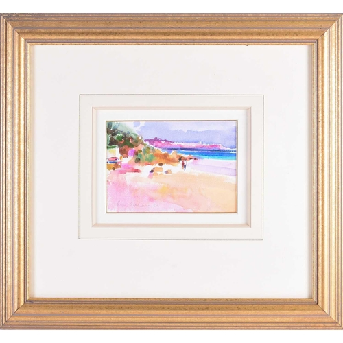 27 - † Peter Graham (b.1959) British, 'Beach Stroll, Bermuda', watercolour, signed and dated 1997, label ...