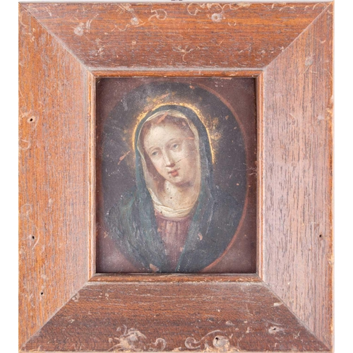 28 - Late 18th/early 19th century school, an oil on copper portrait of the Virgin Mary, 8.4 cm x 6.5 cm i...