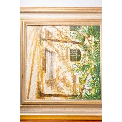 30 - † Chris Wild (b.1945) British, three oils on canvas, 'White Bench with Window, Mallorca, Spain', 31 ...