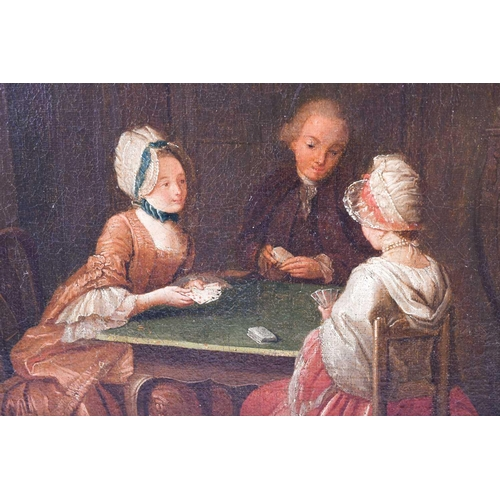 32 - Circle of Nicolas Bernard Lépicié (1735-1784), three figures seated and playing cards, a dog to the ...