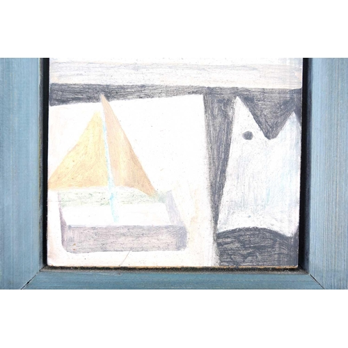 34 - † Helen Napper (b.1958) British, 'Aldeburgh Beach with Nancy's Boat & Lilac Clouds', mixed media on ...