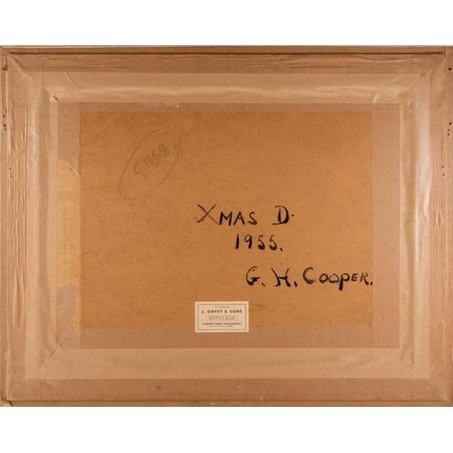 36 - † Gladys Hamilton Cooper (1899-1975), 'Xmas Day 1955', oil on board, titled verso, 44 cm x 60 cm gla...