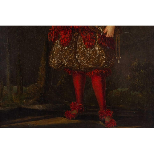 1 - 18th century school, a full length portrait of a nobleman in elaborate red tasselled costume, holdin...